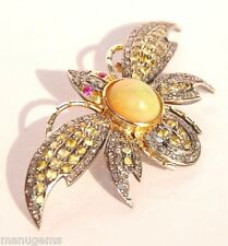 14KT FIERY FIRE OPAL SAPPHIRE DIAMOND BUTTERFLY BROOCH BROCHE ブローチ BROSCHE