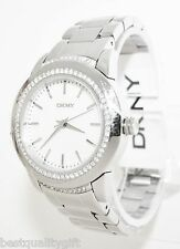 NEW-DKNY POLISHED SILVER TONE S/STEEL+MOP+CRYSTAL DIAL WATCH-NY8673+TAG