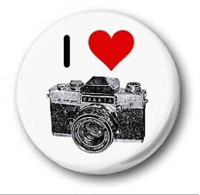 I LOVE PHOTOGRAPHY  - 1 inch / 25mm Button Badge - Novelty Cute Camera