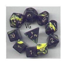 RPG Dice 10pc - Oblivion Yellow  - 1 @ D4 D8 D10 D12 D20 D00-10 & 4 D6