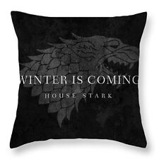 "Game of Thrones Winter Coming Stark 17"" Square Cushion Cover Pillow Case Black"