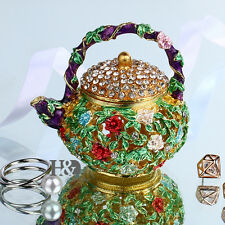 Vintage Flowers Teapot Crystal Handmade Trinket Boxes Wedding Gifts Party Decor