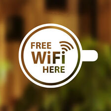 FREE WIFI qui COPPA FINESTRA SEGNO ADESIVO Vinile Grafica CAFE shop salone bar pub