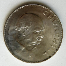 Vintage 1965 UK coin Five Shillings Winston Churchill war-time leader 5/- 1960s
