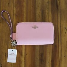 NWT Coach Double Zip Leather Phone Wallet Wristlet ~ F63112 ~ Petal Pink