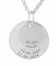 3 Ring Disc Pendant Personalised Necklace Silver Plated Any Names Engraved Free