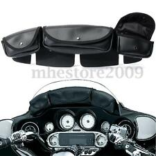 3-Pocket Windshield Fairing Saddle Bag For Harley Electra Glide Touring 96-15