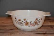 """Vintage Pyrex England 8"""" Casserole Dish Country Autumn Floral Flowers white pink"""