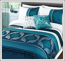 White Turquoise Flora Pintuck 280TC Embroidery * 3pc QUEEN QUILT DOONA COVER SET