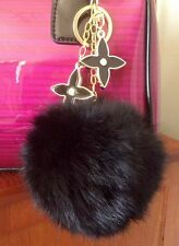 Fashion Flower Charm With Real Rabbit Fur Ball Key Chain Purse Charm