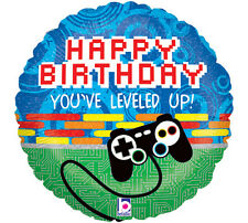 Gamer LEVEL UP Techno Holographic Happy Birthday XBOX PS3 Party Balloon