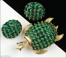 VTG TRIFARI EMERALD GREEN TURTLE FACETED RHINESTONE TREMBLER BROOCH PIN SET 50's