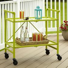 Serving Utility Cart With Wheels Apple Green Metal Storage Folding Table GIFT