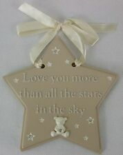 """Childs Wall Star Hanging Plaque """"Love you more than all the stars in the sky"""
