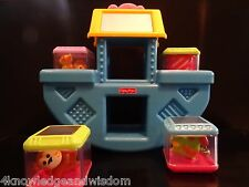 Fisher Price Peek a Boo Blocks Lot Noah's Ark Blue Balancing Boat Day Care Toys