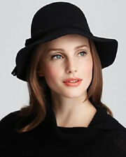 Aqua Designer Black Wool Small Brim Floppy Hat with Tassels Italy NEW $58