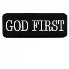 GOD FIRST EMBROIDERED IRON ON BIKER PATCH