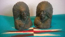 Antique NATIVE AMERICAN INDIAN CHIEF BOOK ENDS Brass Bronze HEAVY OVER 12LBS