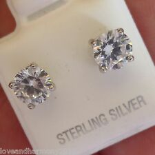3.00 cts round Brilliant cut Stud Earrings Solid 925 Sterling Silver push backs