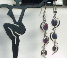 EXQUISITE Silver/Rhodium Plated BLACK CHERRY LAB FIRE OPAL DROP Earrings 40x10mm