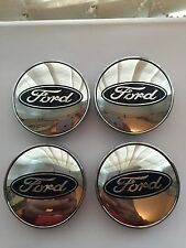 Set Of 4 Chrome Ford Alloy Wheel Center Caps