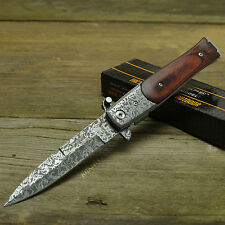 TAC FORCE Speedster Assisted Open Stiletto Milano Damascus Etched Knife 428DMW
