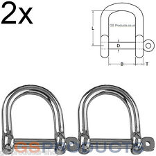 2x 6mm Wide Jaw Dee Shackle Stainless Steel (Lifting D Shackle, Marine Shackle)
