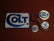 COLT FIREARMS , LEATHER KEY RING,  BADGE & PATCH SET  & FREE PHONE STICKER