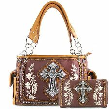 Justin West Floral Embroidery Autumn Western Conceal Carry Handbag Purse Wallet