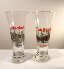 Budweiser Clydesdale HORSES In Snow Pilsner Glasses