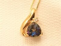 Estate Sterling Silver Vermeil Mystic Topaz Pendant and Necklace Chain UTC
