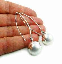Long Threader 925 Sterling Silver Ball Bead Drop Earrings
