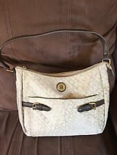 TOMMY HILFIGER HOBO BAG BEIGE SIGNATURE BROWN FAUX LEATHER TRIM HANDBAG PURSE