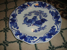 Superb Chinese Or Japanese Blue & White Rooster Chicken Scalloped Plate-Signed