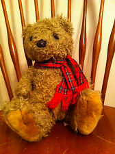 vintage 1991 Fiesta brand plush bear with Knitted plaid scarf Stuffed animal old