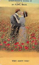 Flint Michigan~Couple Kissing in Field~Everybody's Doing It-Why Not You~1913 Pc