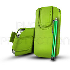 Button Close Leather Pull Tab Case Cover & Stylus For Various Samsung Phones