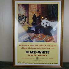 Black & White Scotch Whisky Christmas and New Years Posters, Set of 3 Framed