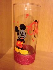 Personalised Glitter Hi-Ball Mickey Mouse Glass, Ideal For Christmas, Birthday