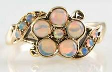 BEAUTIFUL 9K 9CT YELLOW GOLD ART DECO INS AUS ALL OPAL DAISY RING
