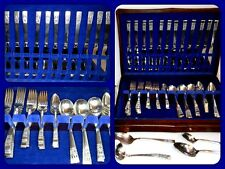 78 Pc. Antique Oneida 1936 CORONATION Art Deco Community Flatware Silverware Set