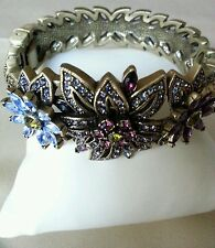 HEIDI DAUS CRYSTAL FLORAL DESIGN BANGLE  BRACELET SIZE M