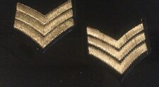 2 X NOVELTY ARMY SERGEANT STRIPES PATCH Sargent sew Iron Fancy Dress Gold Badge