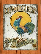 "TIN-UPS TIN SIGN ""Chanticleer Rooster"" Rustic Medicine Kitchen Wall Decor Farm"