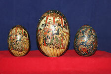 Vintage SET of 3 Decorative Japanese Asian Oriental Ceramic Egg   6-3/4""
