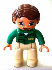 *NEW* Lego DUPLO Female ZOO WORKER TAN Legs GREEN Top BROWN Hair and Eyes