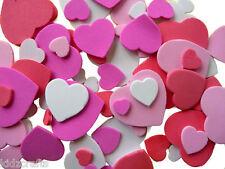 Coeurs en mousse formes adhésives environ 100 pcs enfants Craft Planet blanc rose rouge