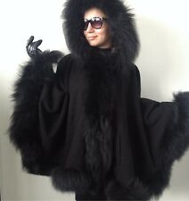 CAPE COAT JACKET CASHMERE  FOX FUR PONCHO