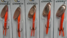5 X 21g FIRE EYE FLYING C LURES Orange BODY / Copper BLADE SPINNER FISHING LURES