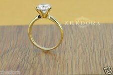 1.7 CT Round Cut Solitaire Engagement Wedding Ring Solid 14k Yellow Gold 6-prong